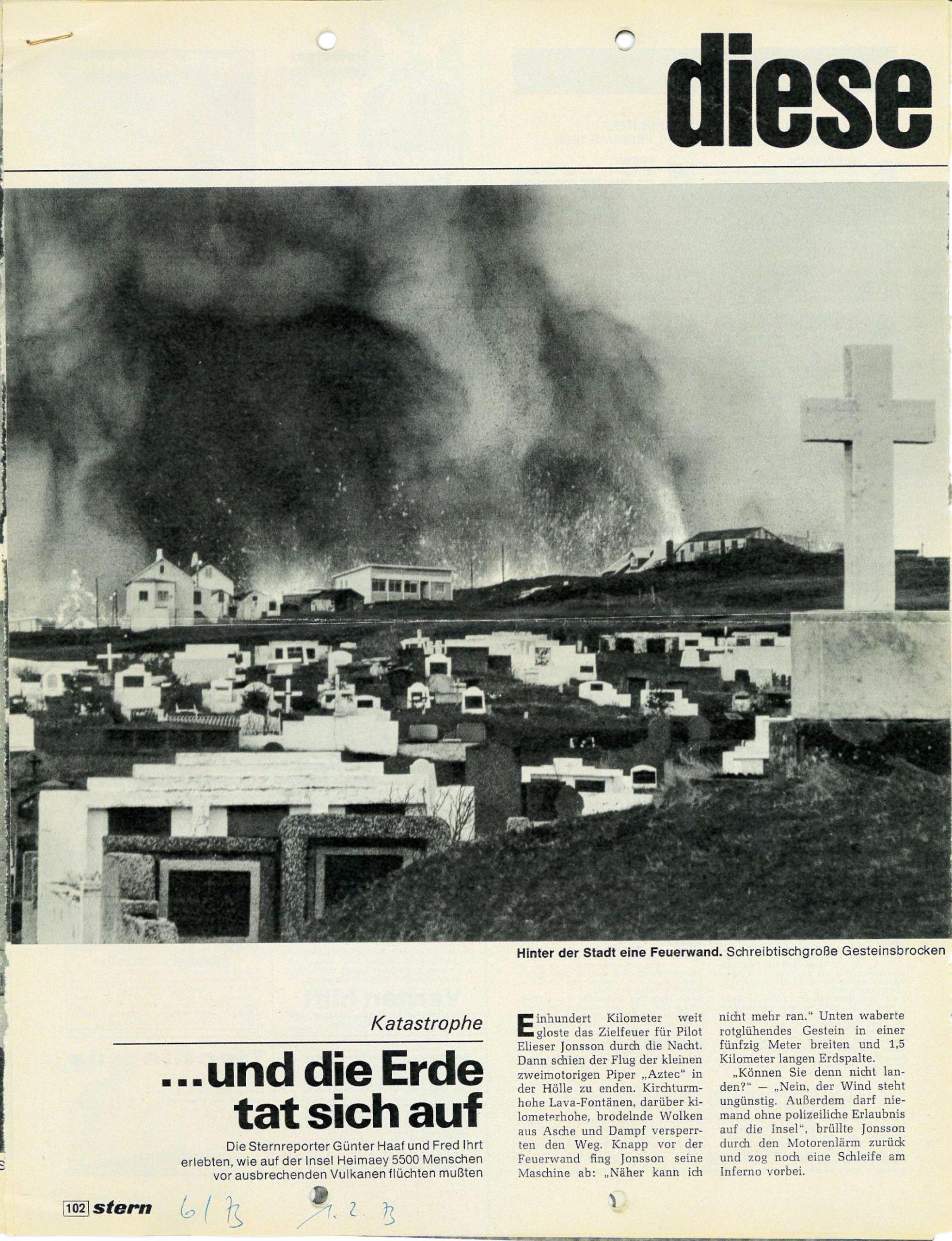 Artikel aus dem Stern 1973 zum Ausbruch Westmänner Inseln