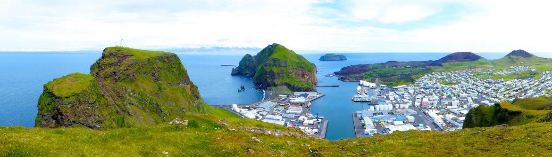 Der Hafen von Heimaey, Westmänner Inseln, Panorama Bild
