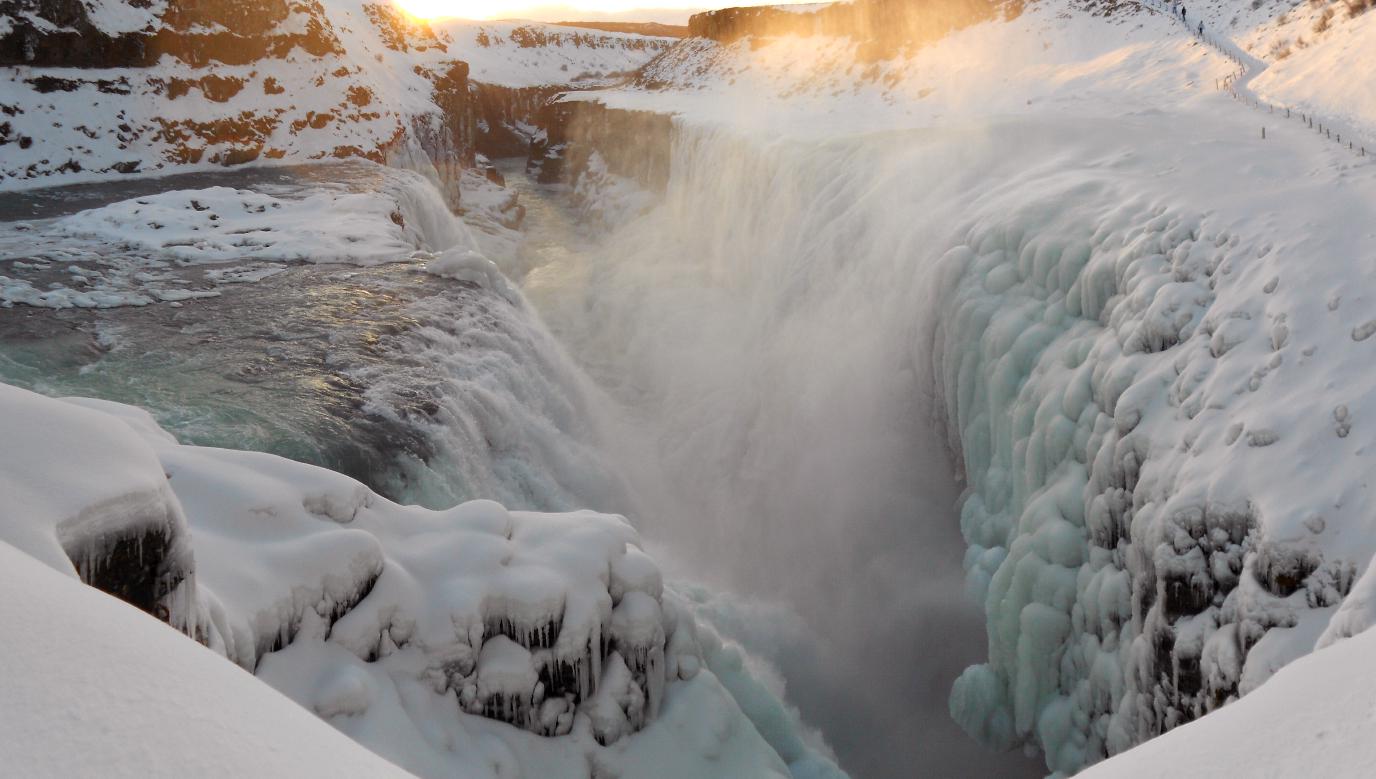 Island, Suedisland, Gullfoss, Wasserfall, Winter, Eis, Schnee