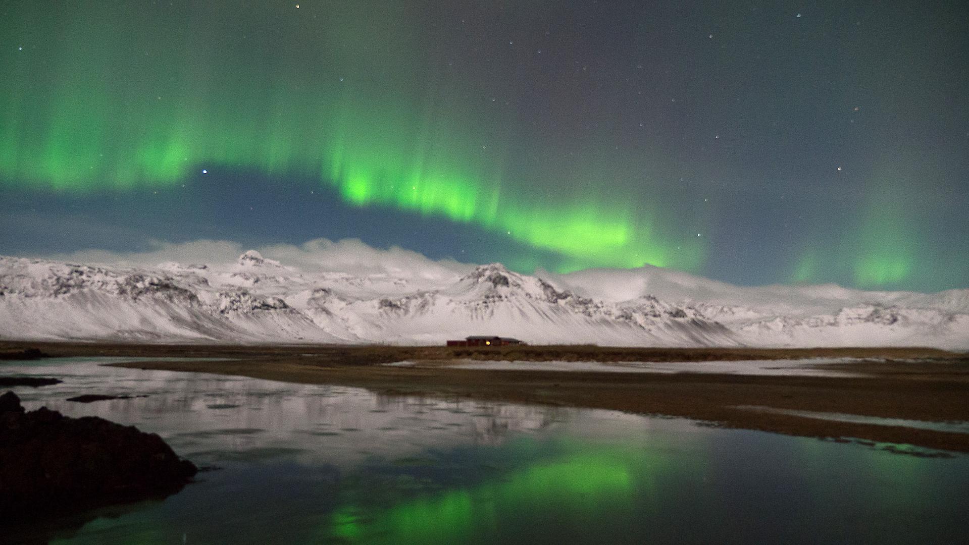Island, Snaefellsness, Budir, Winter, Schnee, Polarlicht, Nordlicht