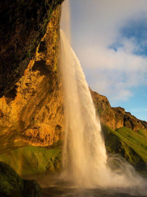 Island, Suedisland, Seljalandsfoss, Wasserfall, Abendsonne, 2015