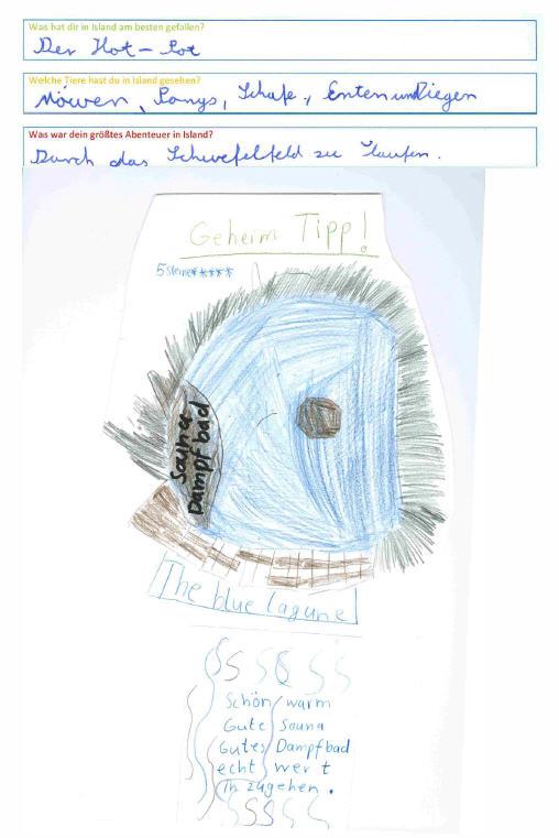 Julius, 10 Jahre, malt seinen persönlichen Geheimtipp, die Blaue Lagune