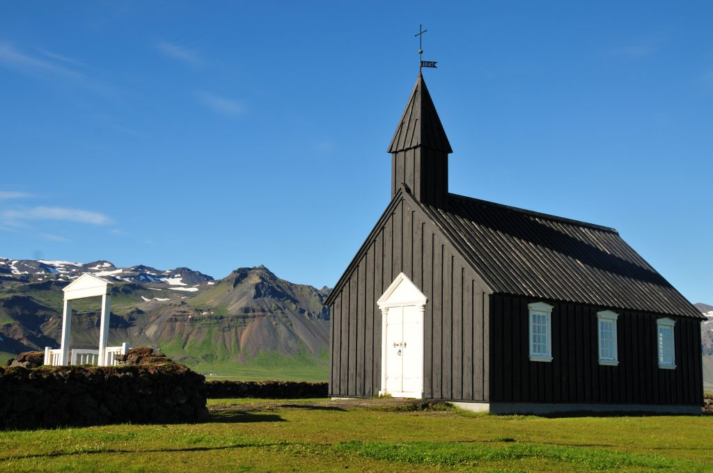 alte Holz-Kirche Búðir, Snæfellsnes Halbinsel, Island