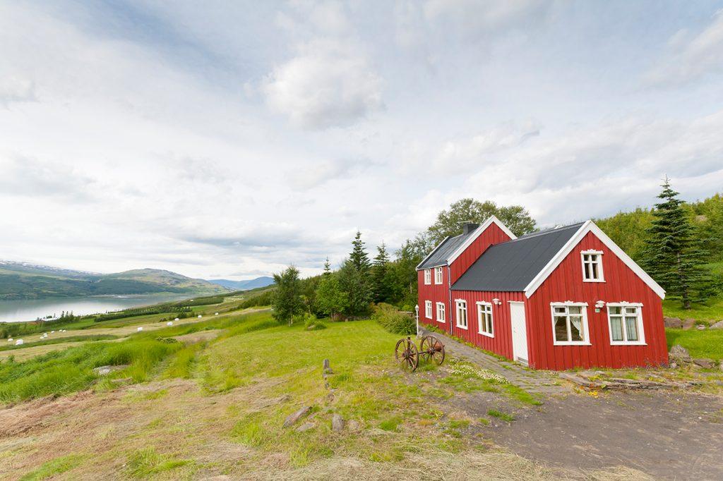 Rotes Ferienhaus mit Bäumen in Ost-Island