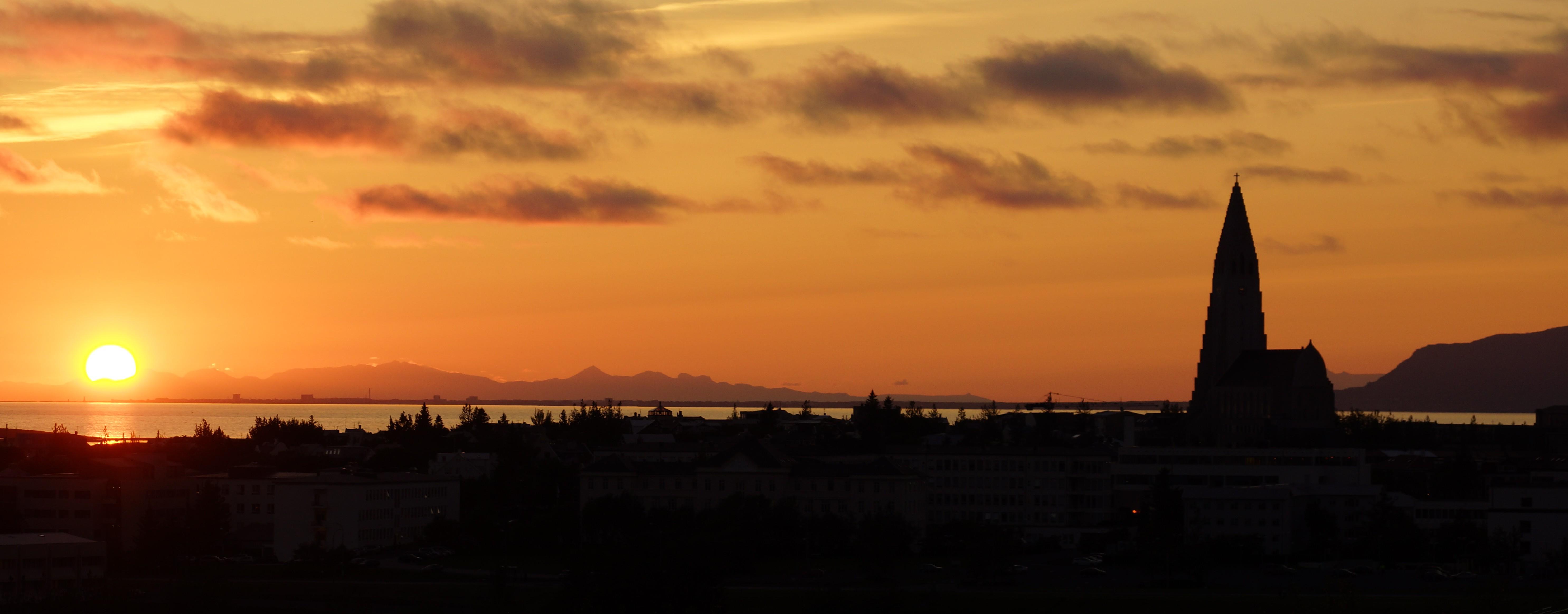 Reykjavik Island, Sonnenuntergang