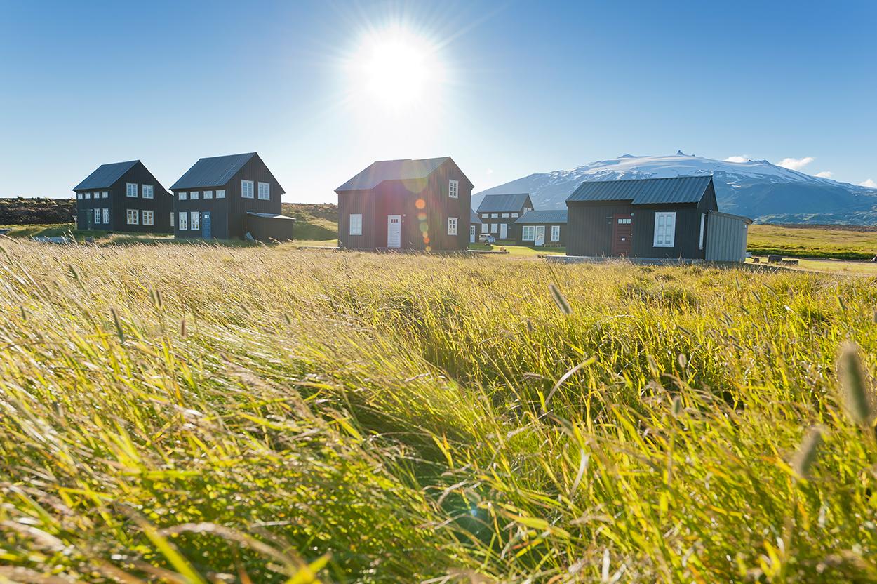 Europa, Island, Snaefellsness Halbinsel, Hellnar, Ferienhaus Fjörusteinn, W254, Snaefellsjoekull, Gletscher, WerbungPR, 7/2014