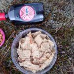 Trockenfisch, Erdnüsse und Lakritzlikör von Opal liegen im isländischen Moos