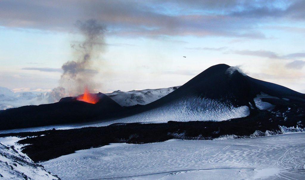 feuerspeiender Vulkan auf Island
