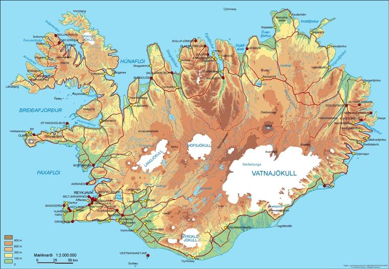 Die Karte des Landes Island