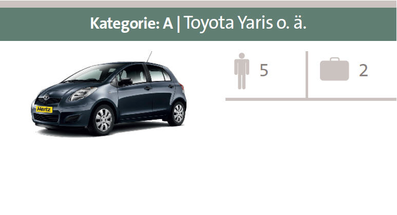 Mietwagen-Kategorie A: Toyota Yaris oder ähnliche