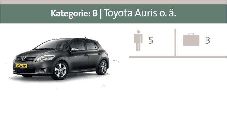 Mietwagen-Kategorie B: Toyota Auris oder ähnliche