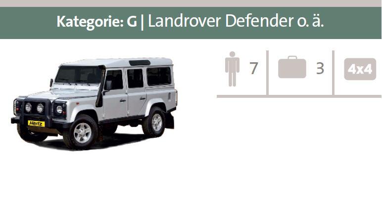 Mietwagen-Kategorie G: Landrover Defender oder ähnliche