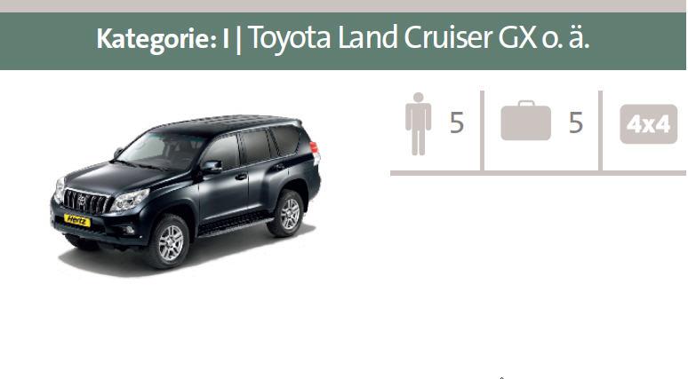 Mietwagen-Kategorie I: Toyota Land Cruiser GX oder ähnliche