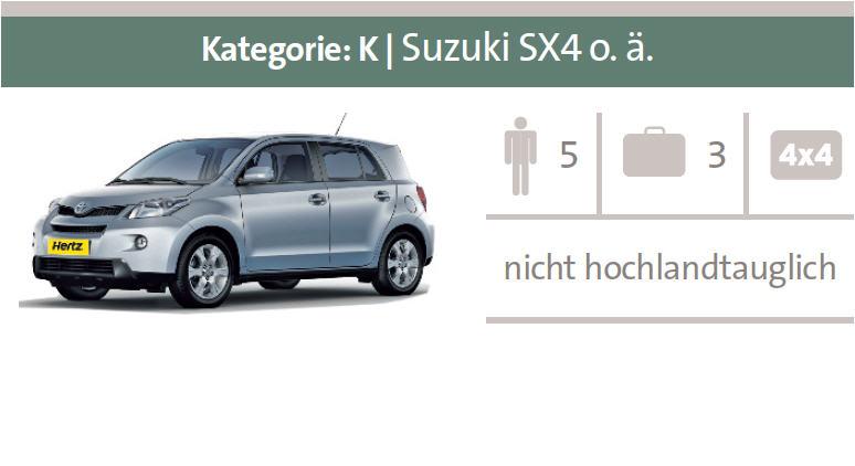 Mietwagen-Kategorie K: Suzuki SX4 oder ähnliche