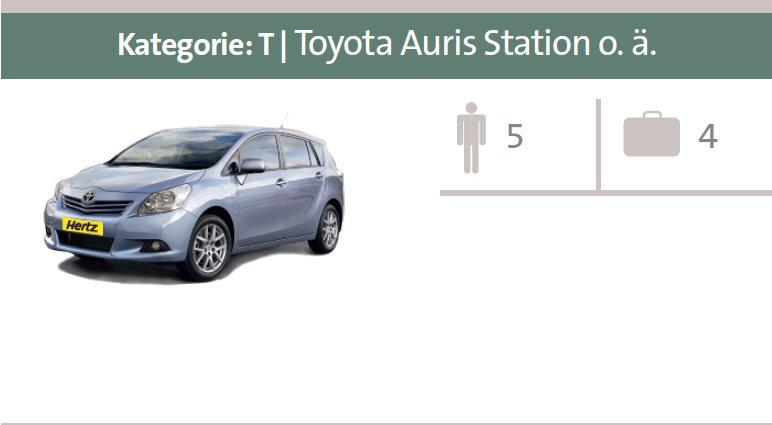 Mietwagen-Kategorie T: Toyota Auris Station oder ähnliche