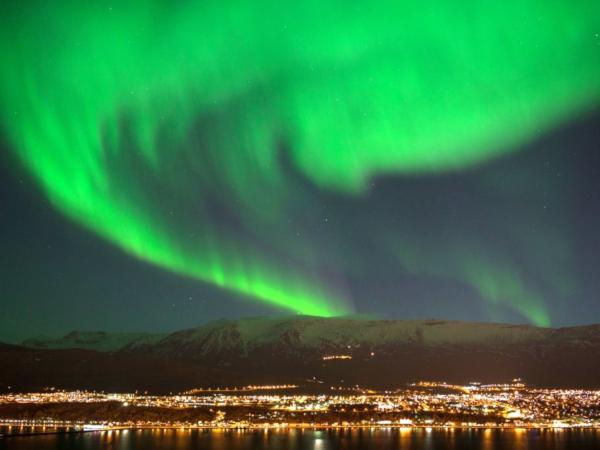 Nordlicht über Reykjavík in Island