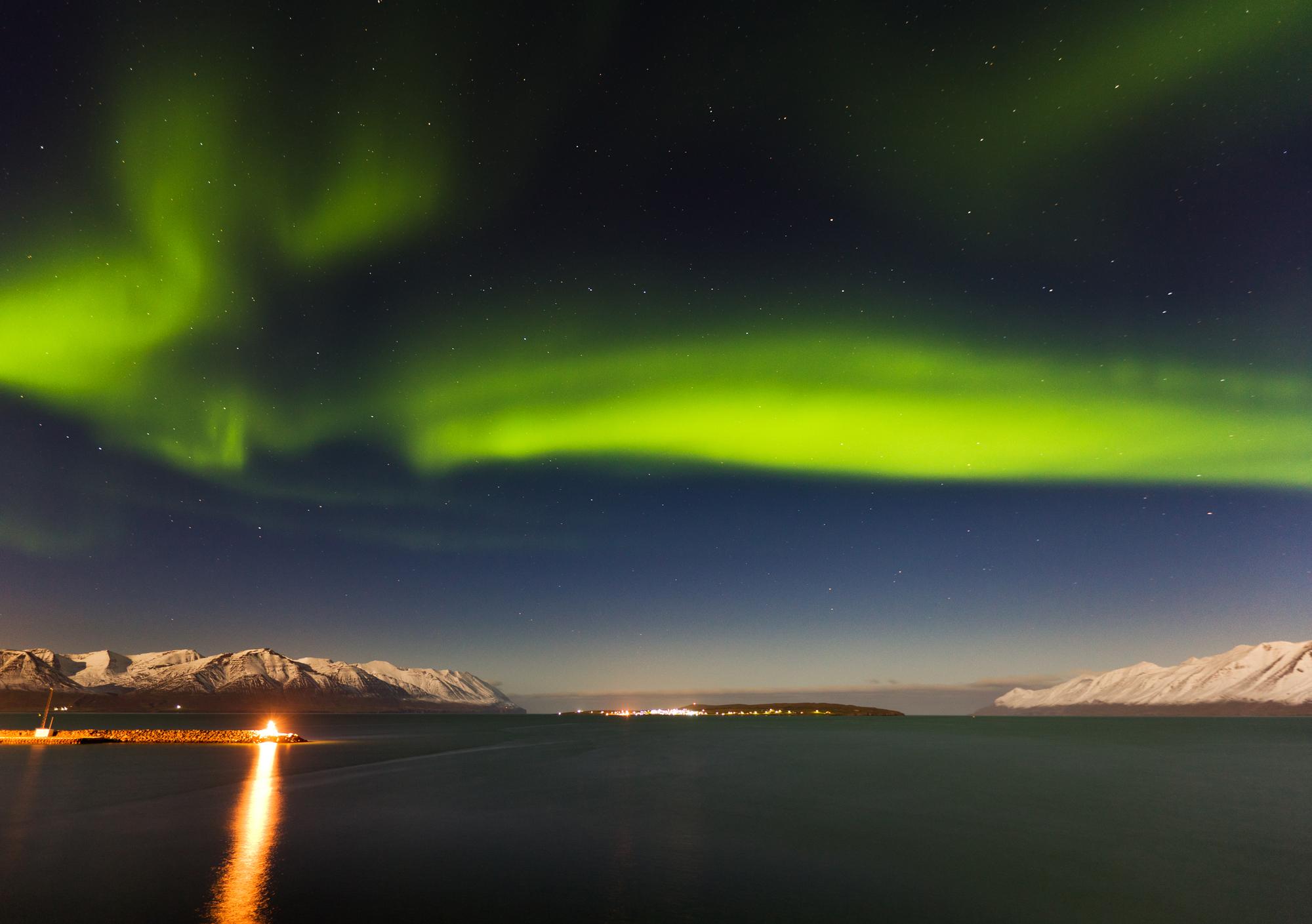 Island, Nordisland, Eyjafjoerdur, Hrisey, Nordlicht, Polarlicht, gruen,