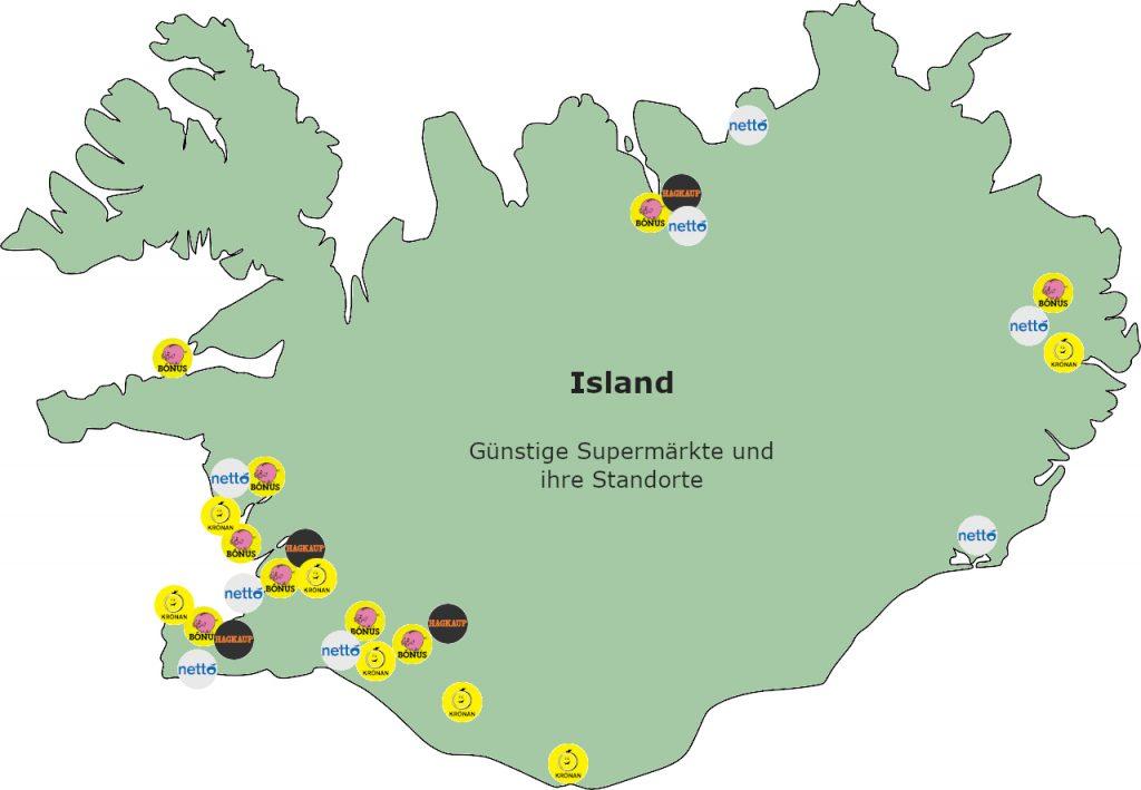 Karte von Island mit Supermarkt-Standorten