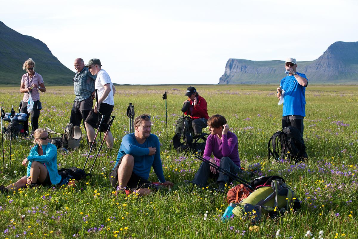 Wanderer bei einer Rast auf grüner Wiese in Island
