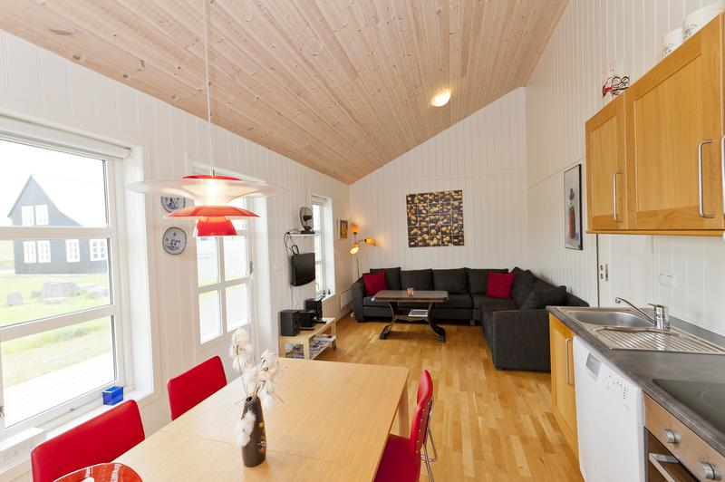 Wohnraum eines Ferienhauses in Island